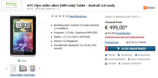 HTC Flyer Price