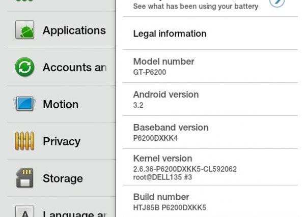 Android 3.2 Honeycomb Samsung Galaxy Tab 7 Plus