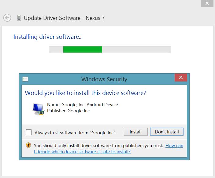 Install Nexus 7 Driver