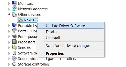 Nexus 7 Driver Installation