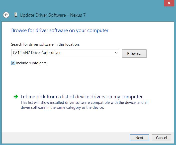 Select Google USB Drivers Folder