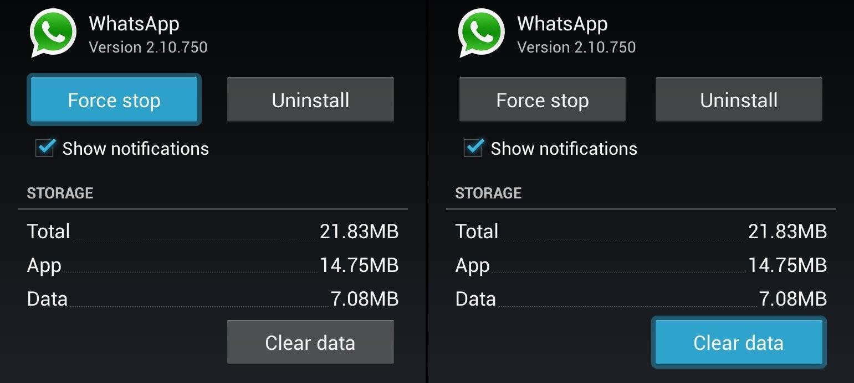 Whatsapp clear database