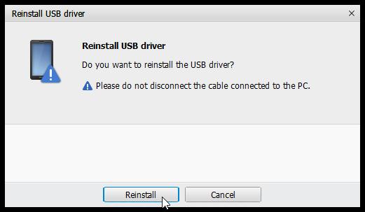 Click reinstall button