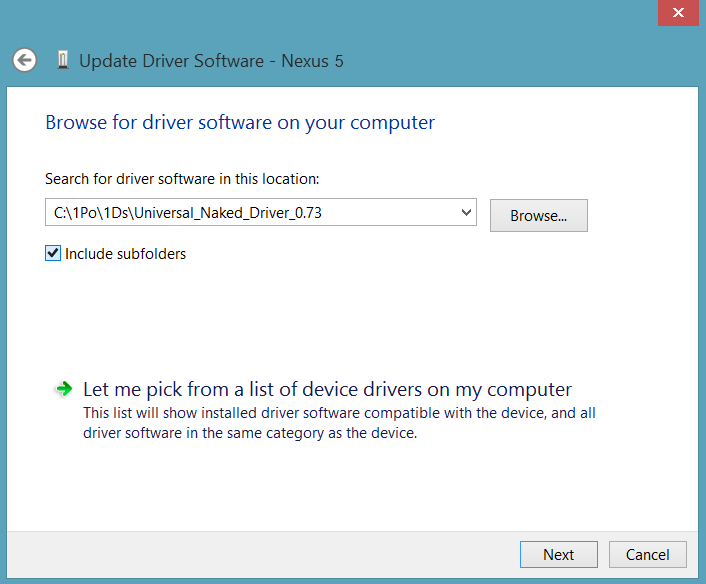 Select Universal Naked Driver Installation Folder