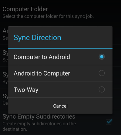 Sync Files on PC and Android - Sync Direction
