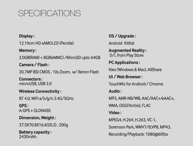 Galaxy K Zoom Specification