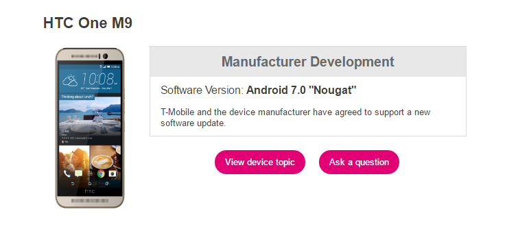 one m9 Nougat T-Mobile