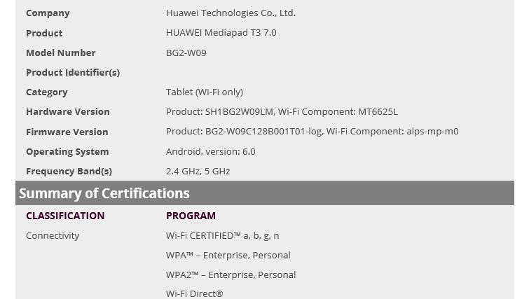 Huawei Mediapad T3 7.0 release should be close, certified by WiFi Alliance