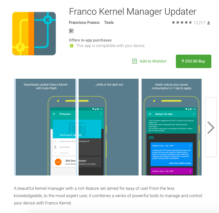 Franco Kernel Manager Updater v2.2.7 adds per-App maximum display brightness and support for OnePlus X (and partial support for unsupported devices)