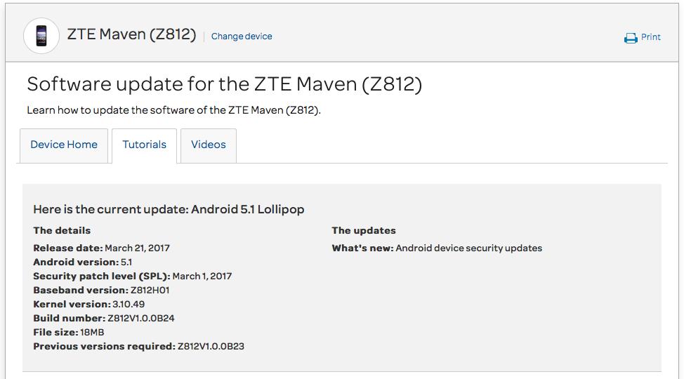 AT&T ZTE Maven Z812 March security patch