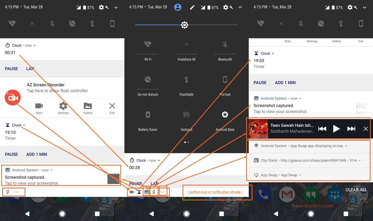 android o expanded notification bottom bar