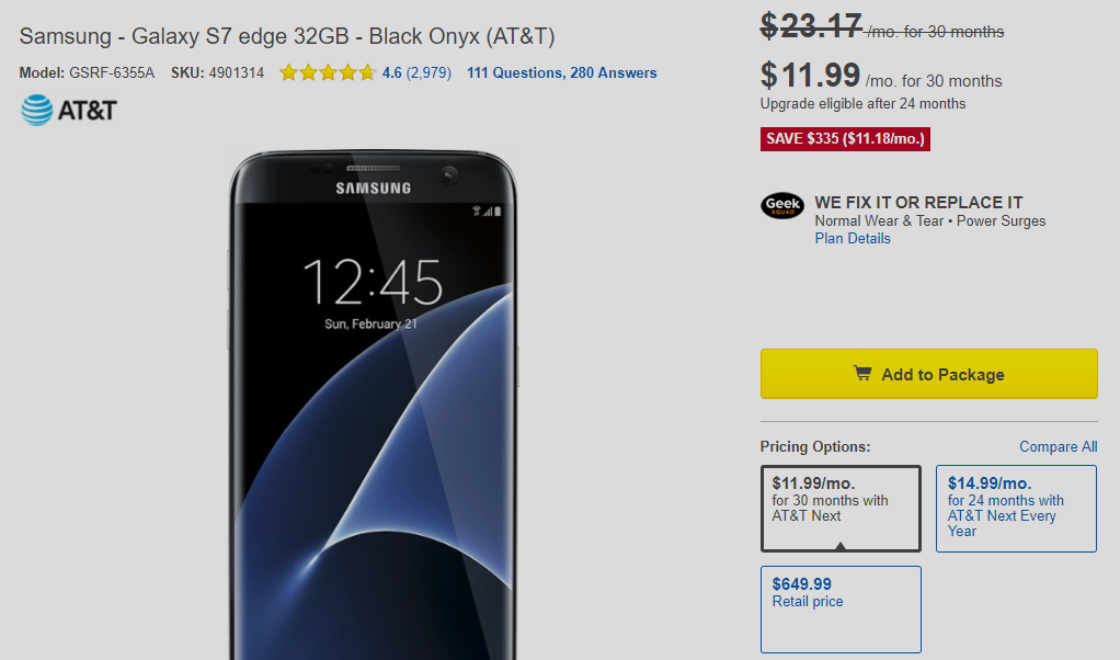 AT&T Galaxy S7 Edge Deal best buy