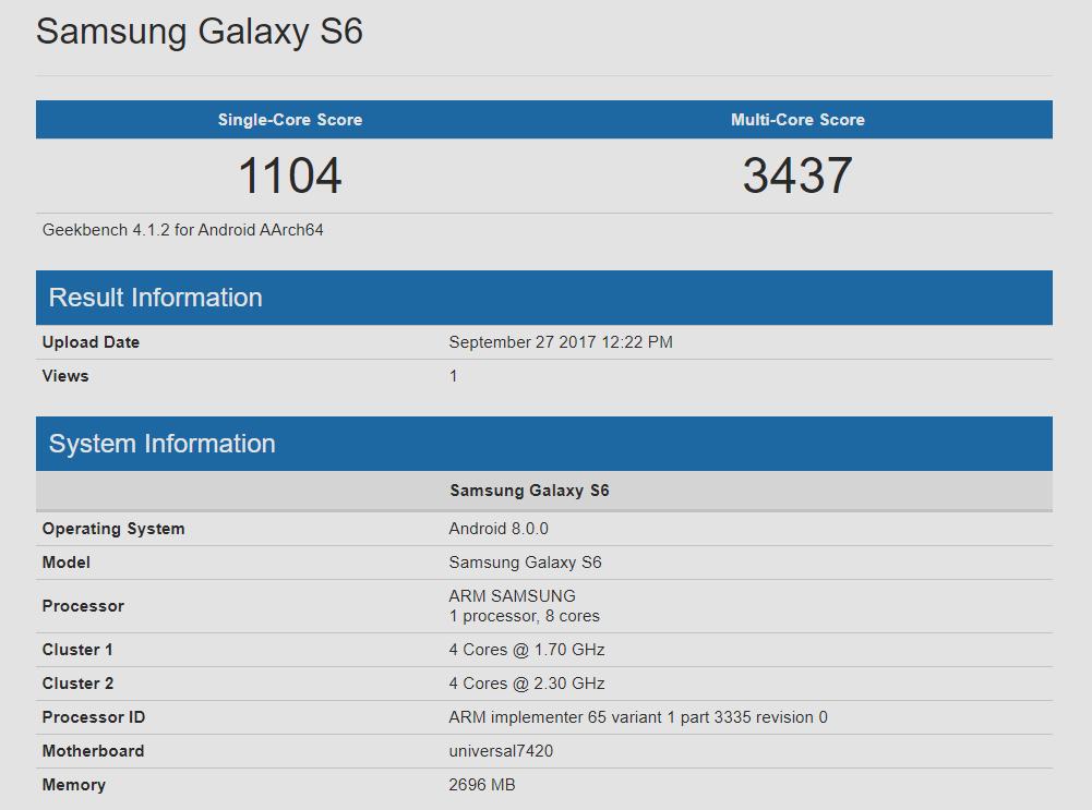 Galaxy S6 Oreo update LineageOS 15
