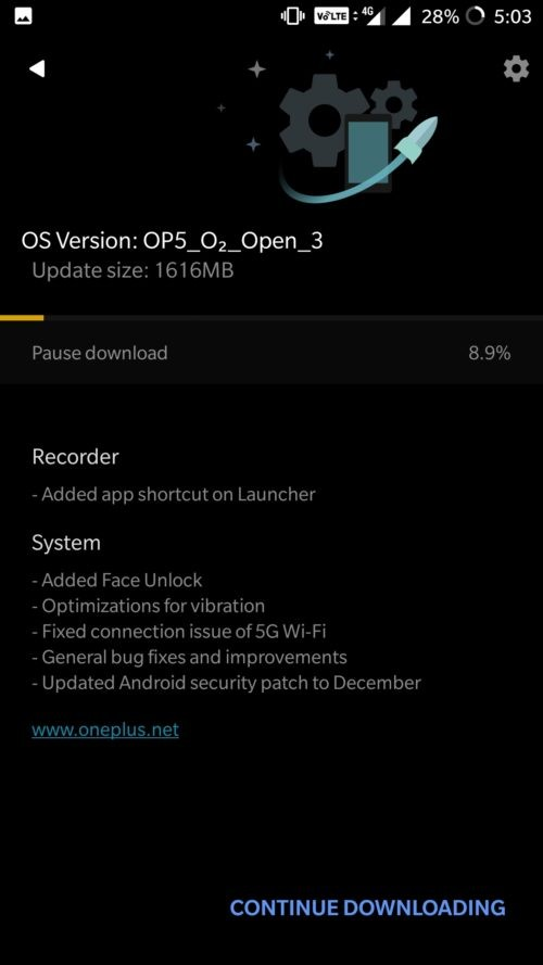 OnePlus 5 face unlock update release