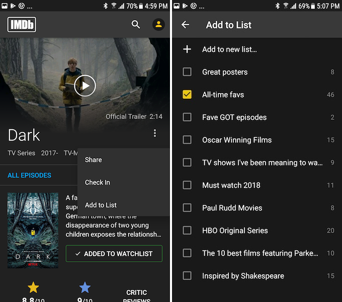 imdb lists feature