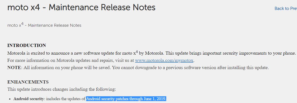 Moto X4 June 2019 security update