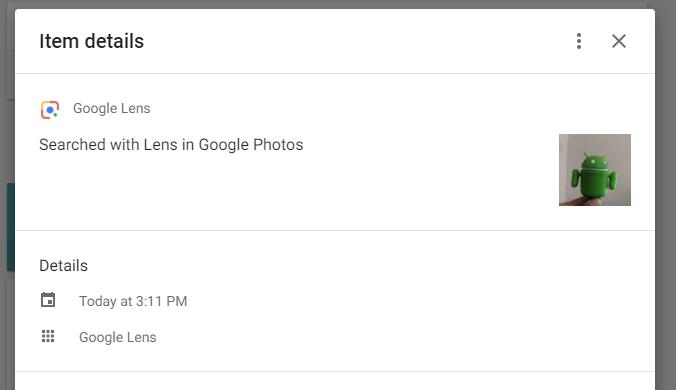 Google lens activity item details