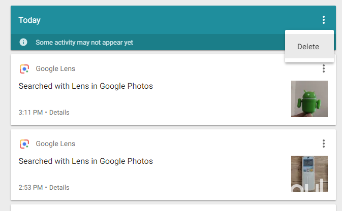 google lens delete activities by group