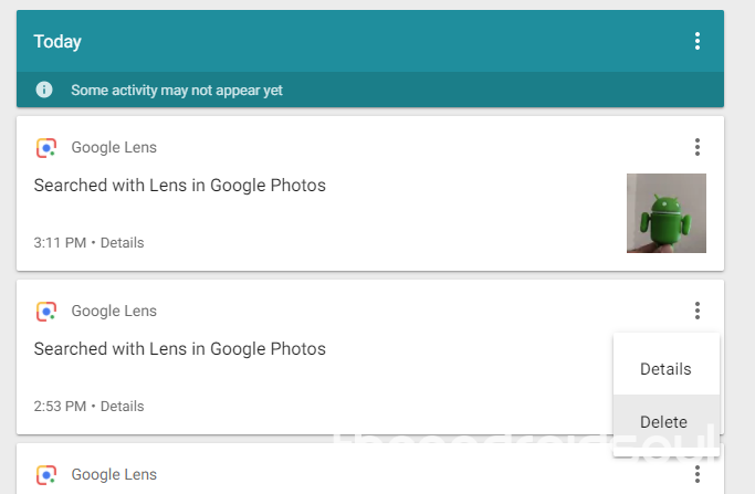 google lens delete activity
