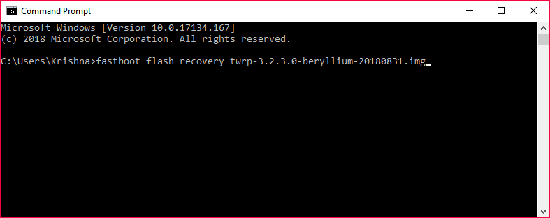 Poco F1 TWRP installation fastboot command