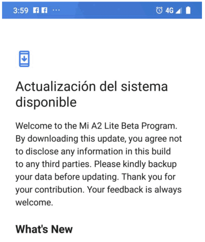 Mi A2 Lite Pie update