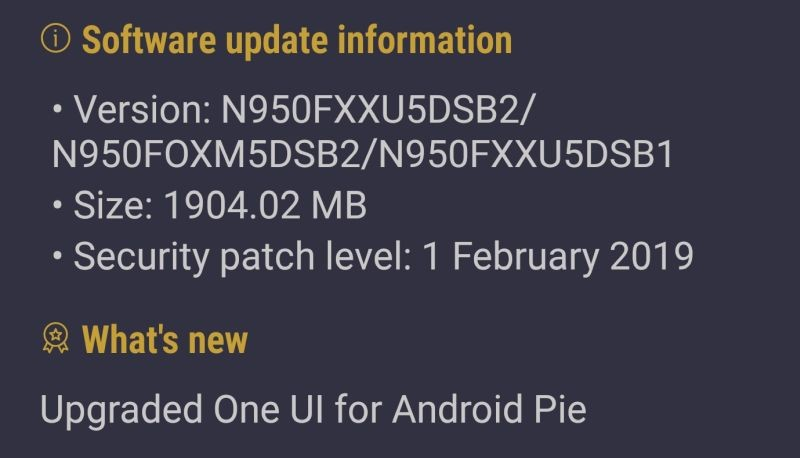 Android Pie Galaxy Note 8