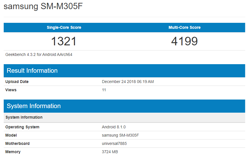 Galaxy M30 geekbench