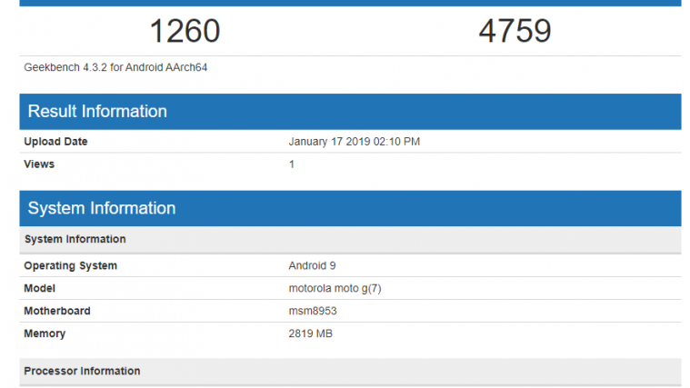 Moto G7 benchmark