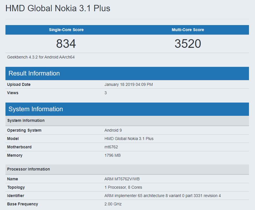 Nokia 3.1 Plus Pie update