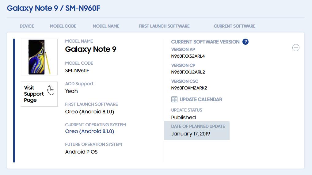 Note 9 Pie update release date
