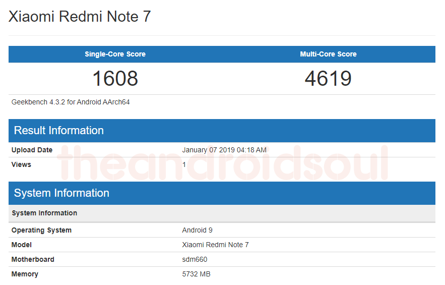 Redmi Note 7 geekbench