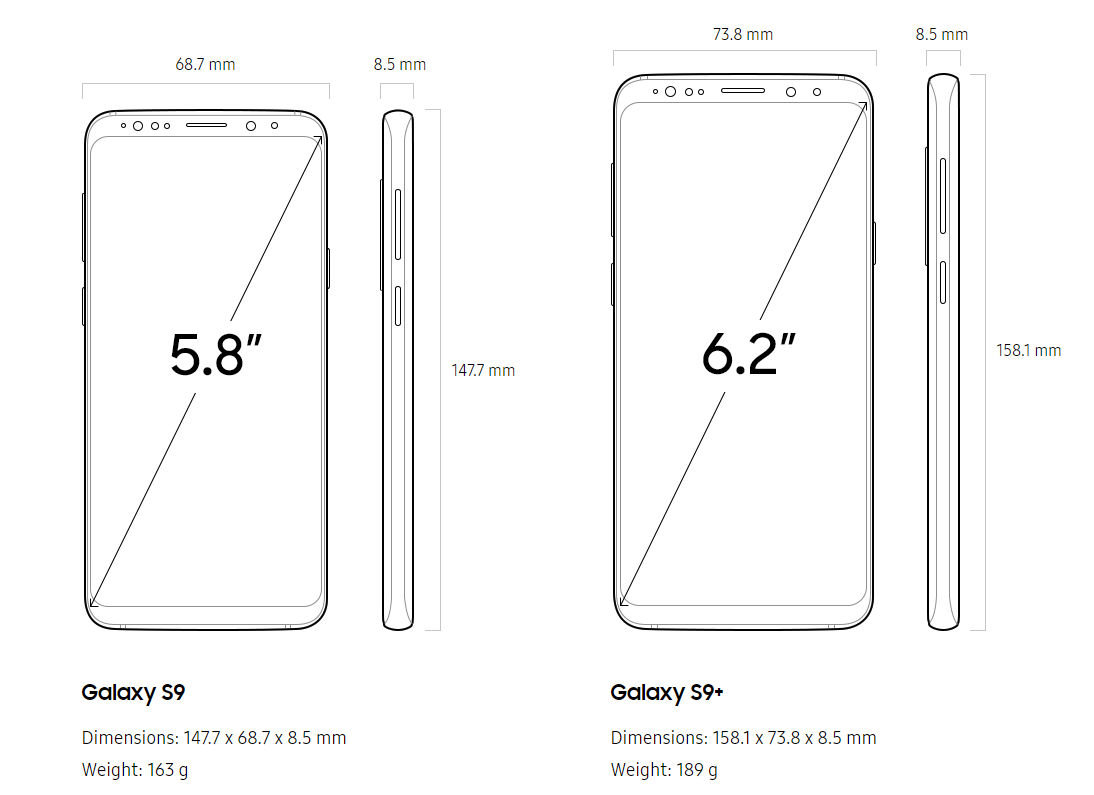 Galaxy S9 and S9 Plus sizes