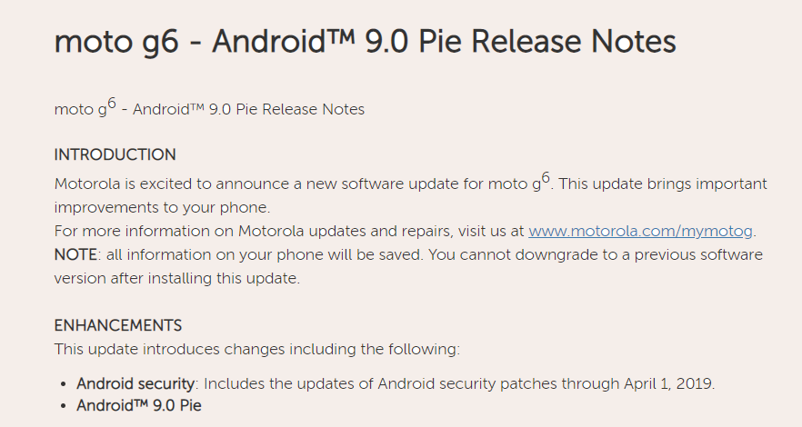 Moto G6 Pie update USA