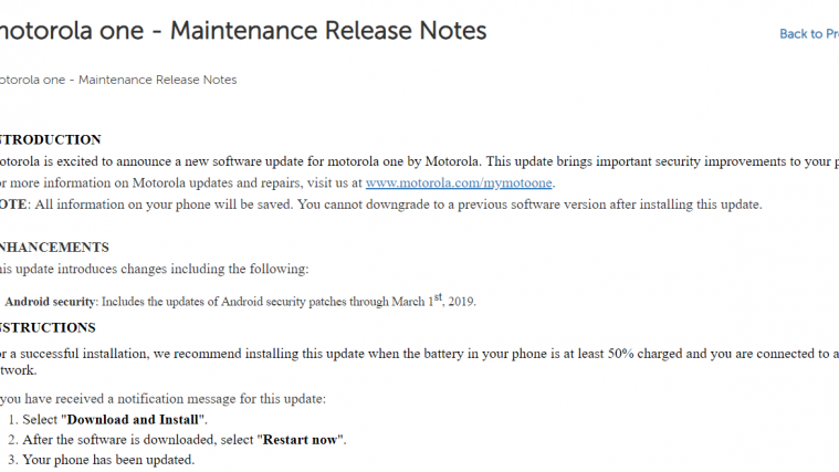 Moto One March security patch