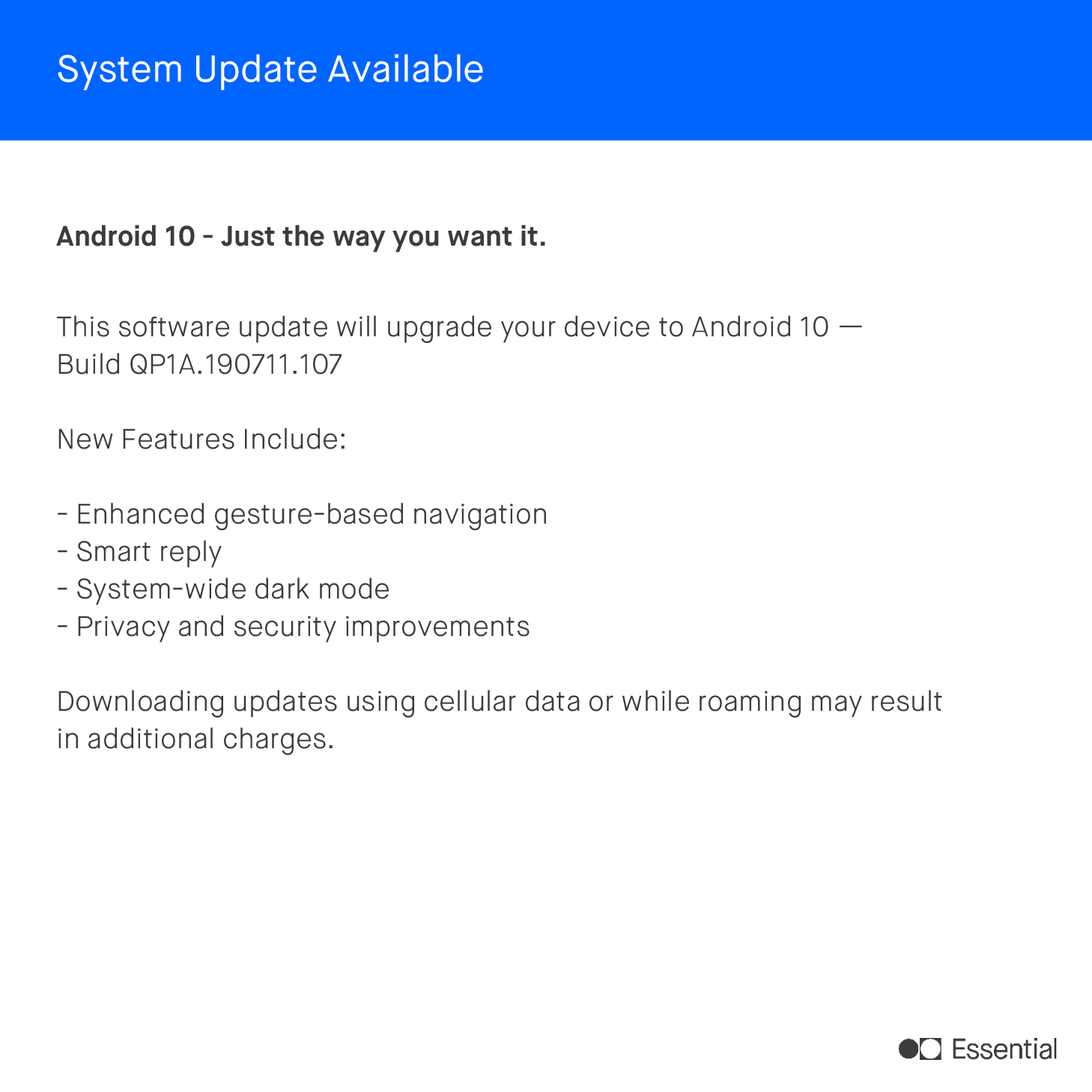 Essential Android 10 update