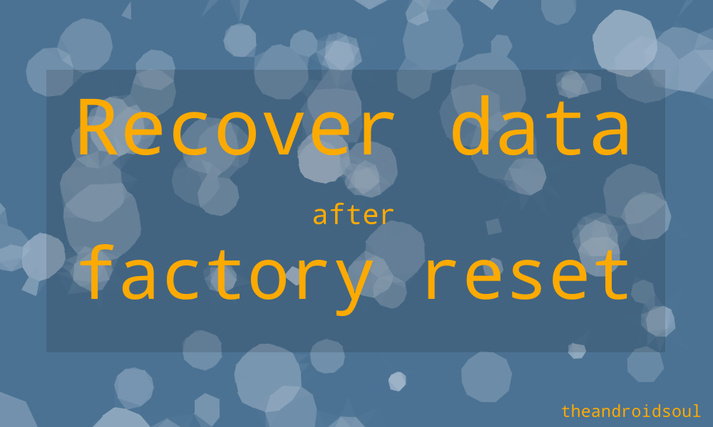 recovery data after reset