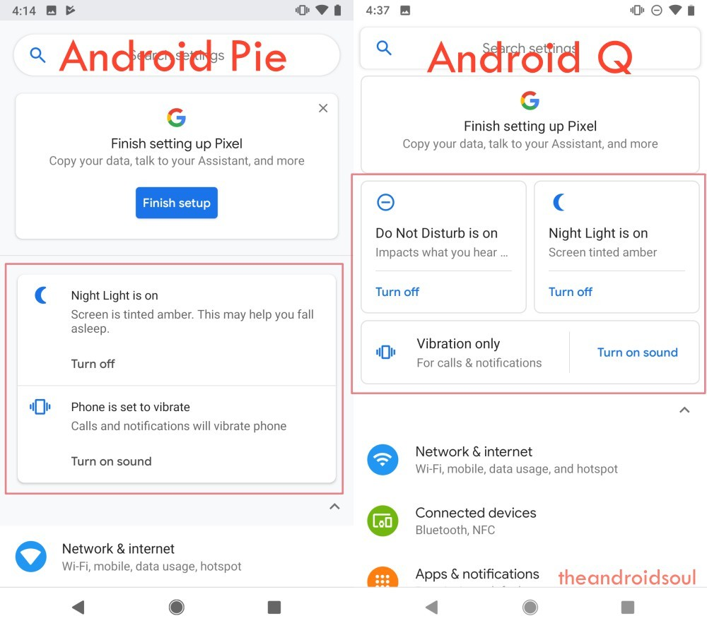 Android Q UI example 3