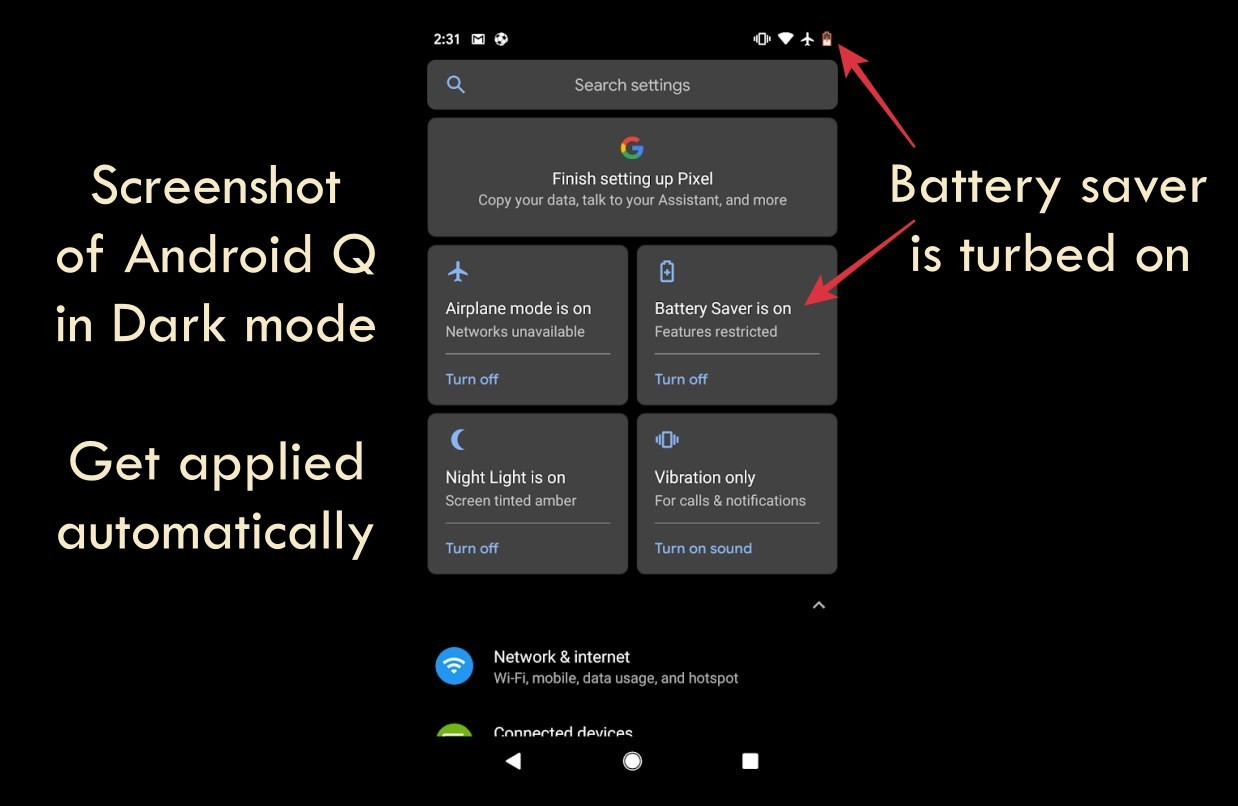 Android Q battery saver dark mode