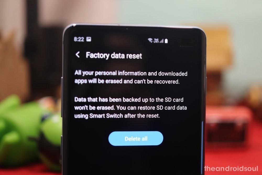 Galaxy S10 factory reset