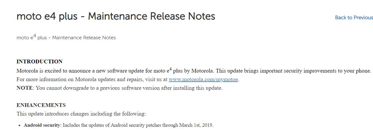 Moto E4 Plus March 2019 update