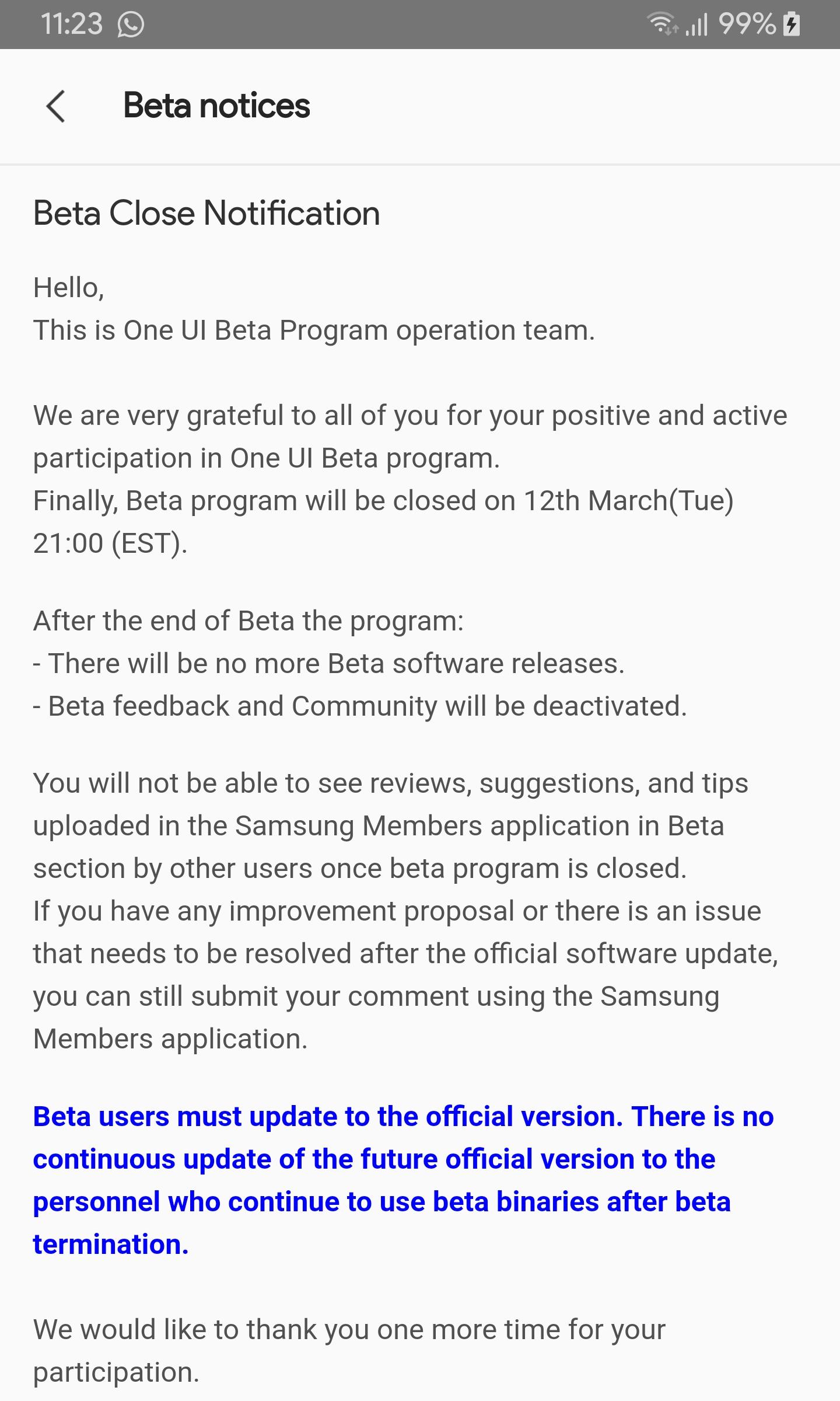 U.S. unlocked Galaxy Note 9 beta end notice