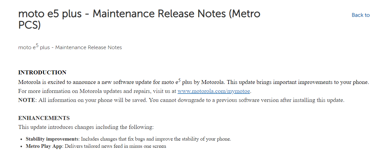 Moto E5 Plus MetroPCS update