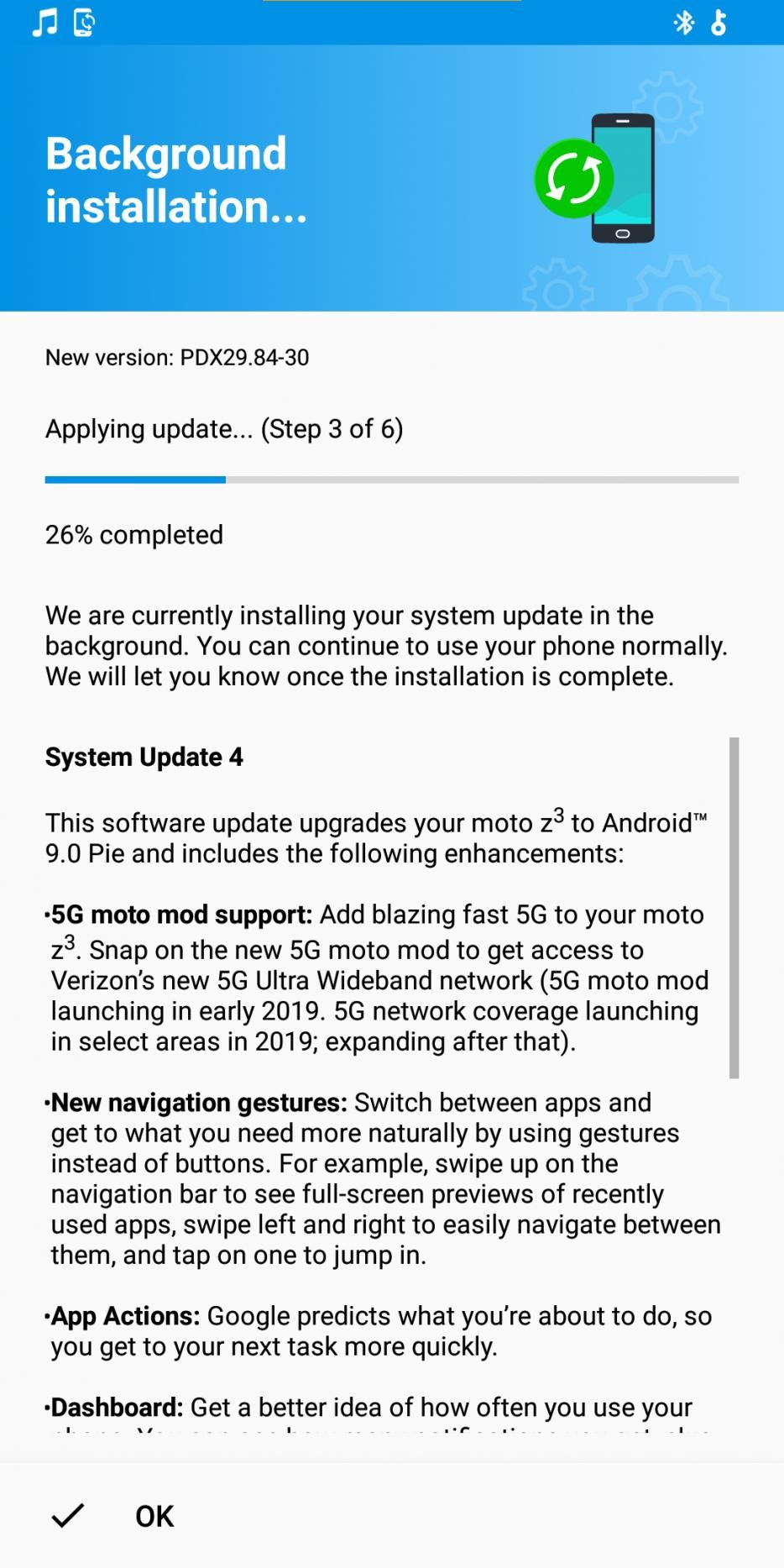 Moto Z3 Android 9 Pie Verizon