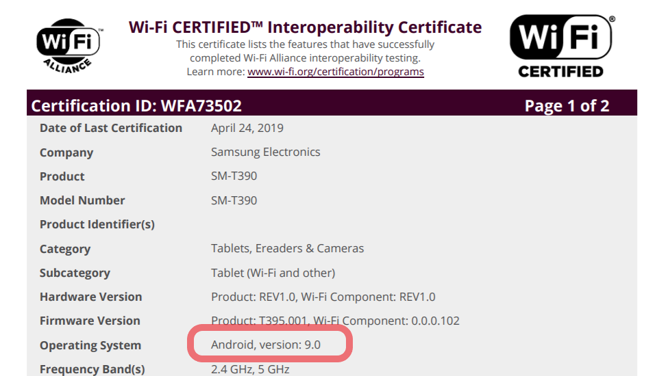 Samsung Galaxy Tab Active 2 cleared to receive Pie