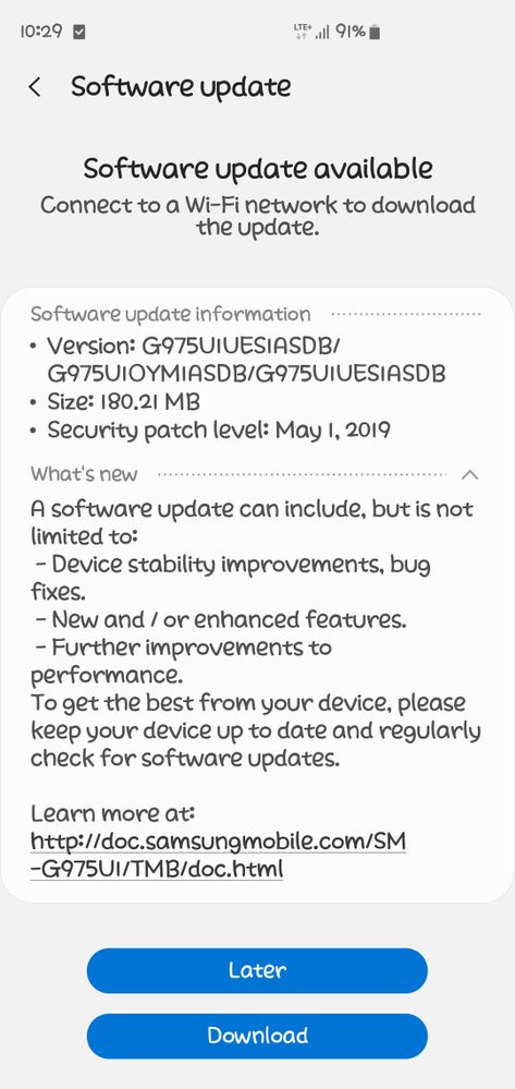 Galaxy S10+ May patch
