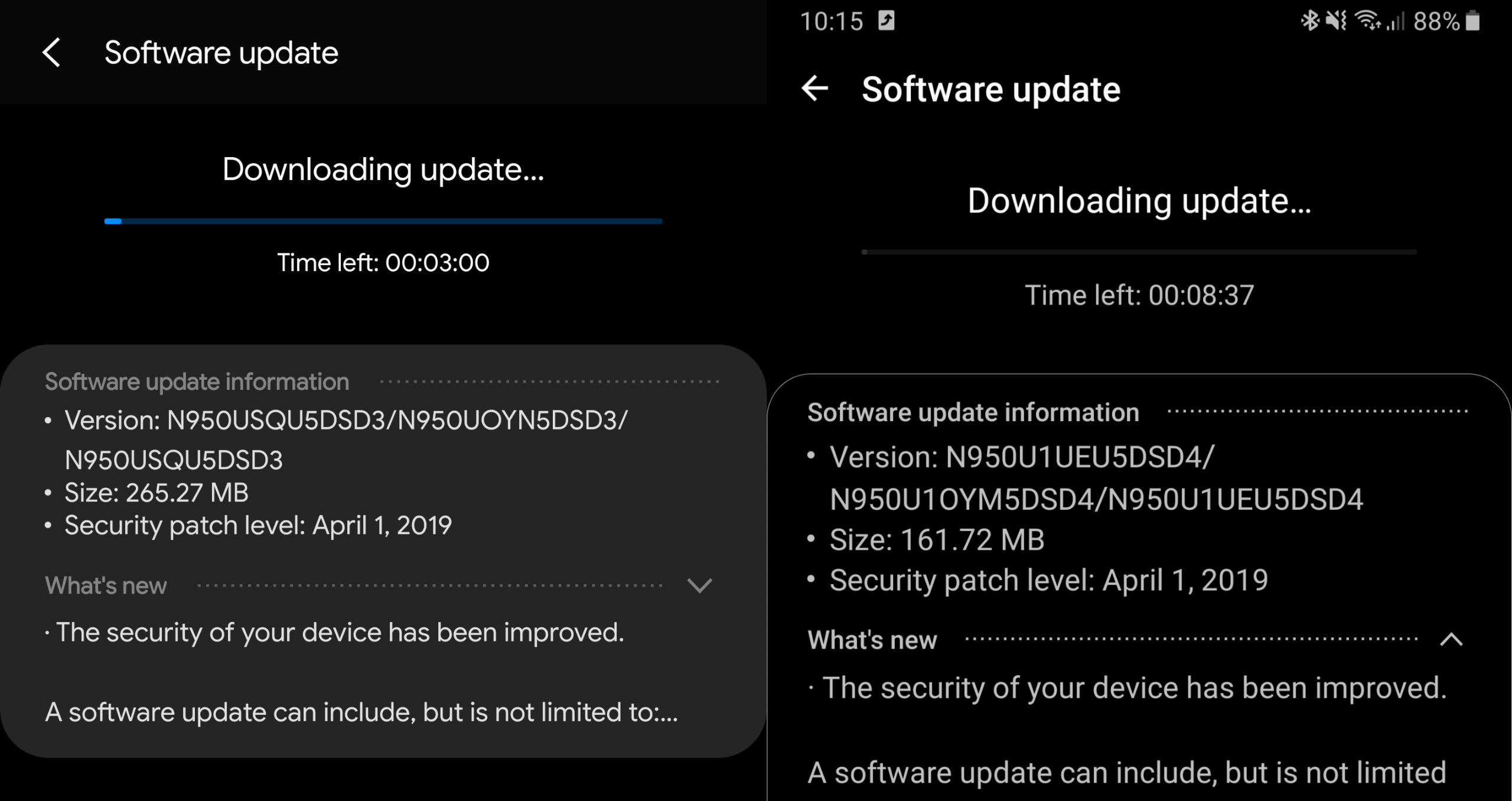 Samsung Galaxy Note 8 April patch