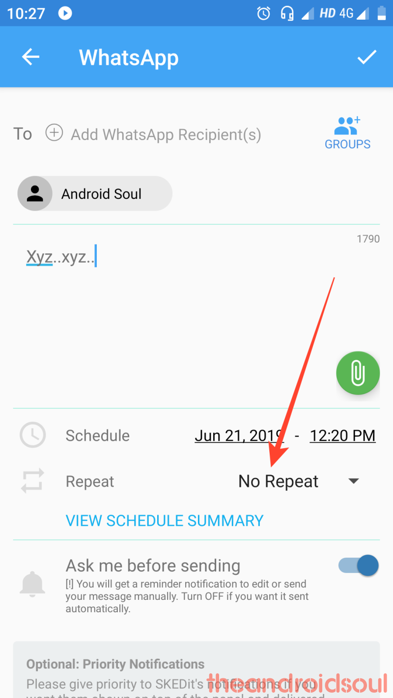 whats app message scheduling steps