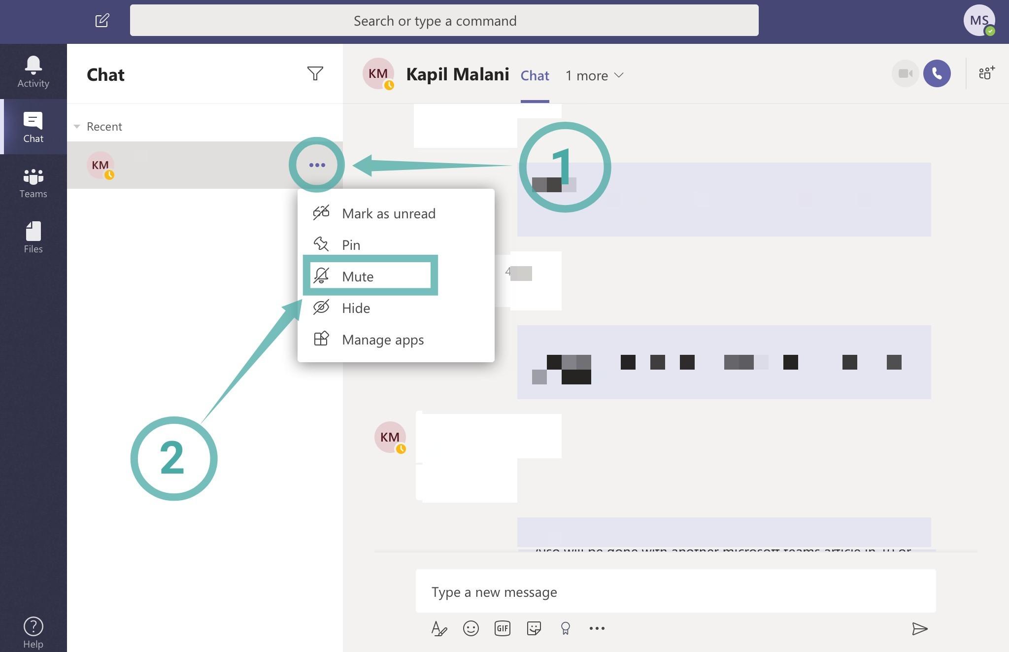 Como desativar notificações de bate-papo usando Mudo no Microsoft Teams
