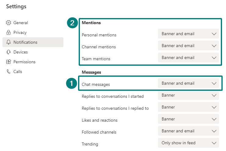 Disable emails from Teams