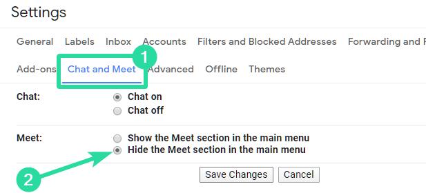 Hide Meet in Gmail